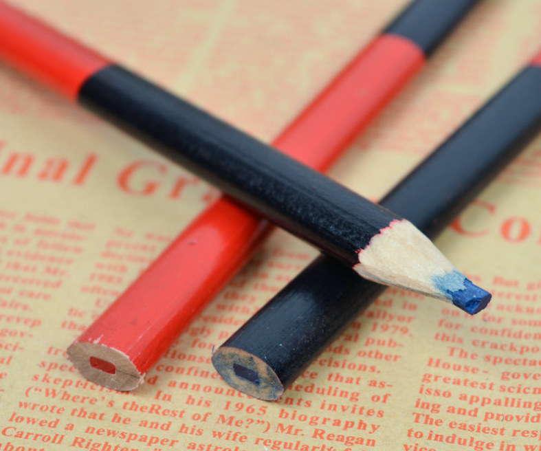Red and blue carpenter pencil